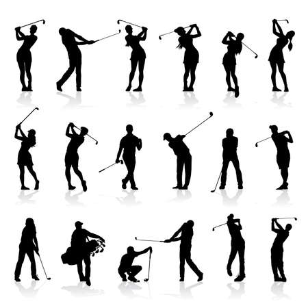 Male and Female Golf Silhouettes Set isolated on white background
