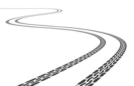 Vector grunge Tire tracks illustration diminishing in the horizon in perspective view