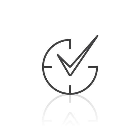 Check mark on clock icon in outline style