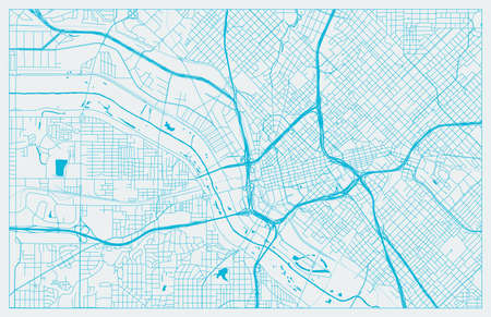 Blue and White vector city map of Dallas with well organized separated layers Иллюстрация