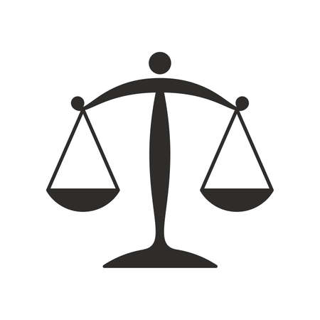 Scales of justice flat icon for apps and websites Illustration