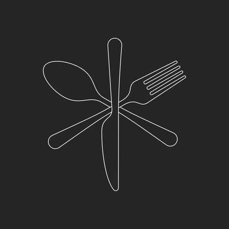 knife, fork and spoon icons. Crossed cutlery Icons