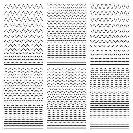 Set of wavy horizontal thin and thick lines. Design element. Vector illustration. Isolated on white background Stock Illustratie