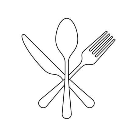 Fork, Knife and spoon Icon Flat outline Graphic Design Ilustração