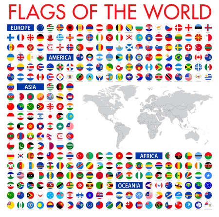 Tous les drapeaux nationaux officiels du monde. conception circulaire. Avec une carte du monde vectorielle Vecteurs
