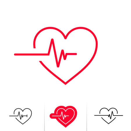 Heartbeat or heart beat pulse outline icon for medical apps and websites
