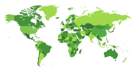 World Map Seperate Countries green color