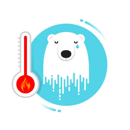 Melting polar bear - global warming may be a disaster for polar bears Illustration