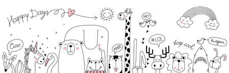 cute cartoon sketch animals for t-shirt print, textile, pillows, patch, kid products, gifts wrapping paper