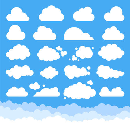 White fluffy cloud icons on a turquoise blue sky in different shapes Ilustracja