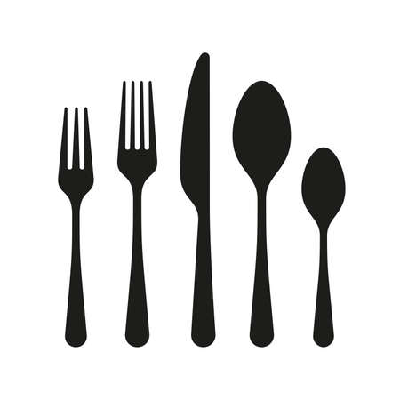 monochrome illustrations set of knife, fork and spoon 写真素材 - 119627674