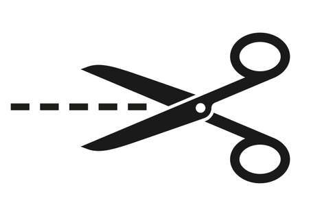 black cutting scissors with points on white background Ilustração