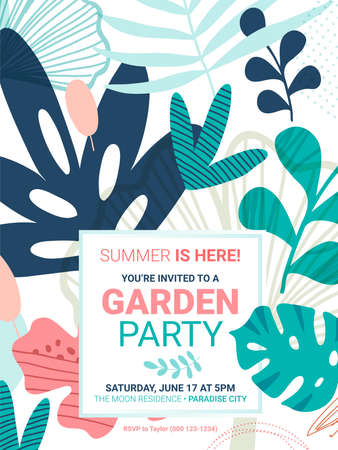 Flowers and leaves background. Summer party Invitation or greeting card template. Standard-Bild - 122784803