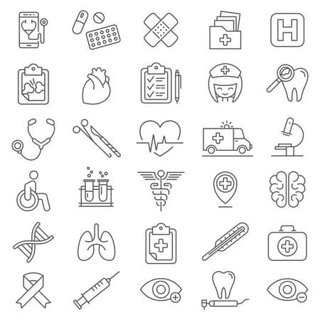 Modern thin line medical icons. Premium quality outline symbol for web design, mobile app, graphic design. Mono linear pictograms, infographics and web elements pack.