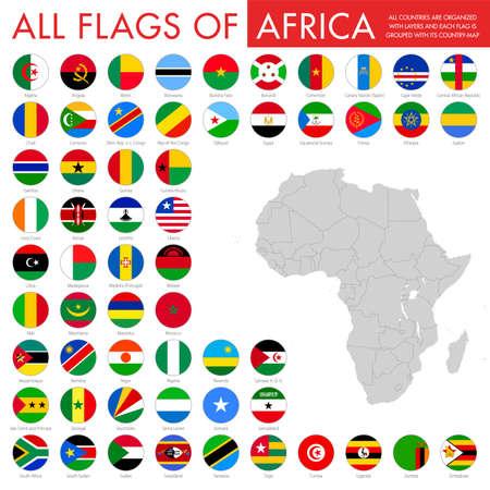 Foto de archivo - Banderas planas redondas de África - Colección completa. Conjunto de botones de bandera africana