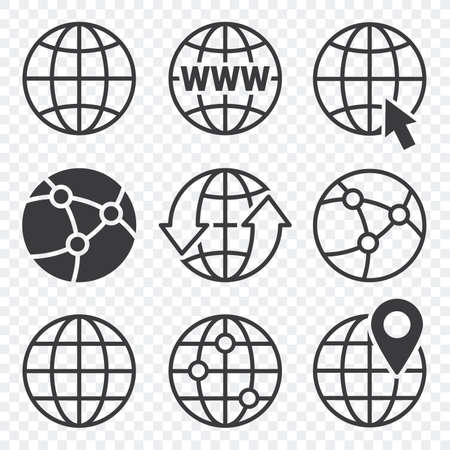 Vector - globe, earth, world icons set isolated on white background. ball wire, globe with arrow. vector illustration Ilustracja