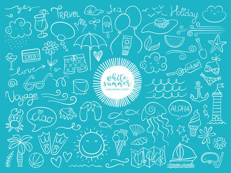Summer illustrations collection. Vector illustration of colorful funny doodle summer symbols Ilustracja