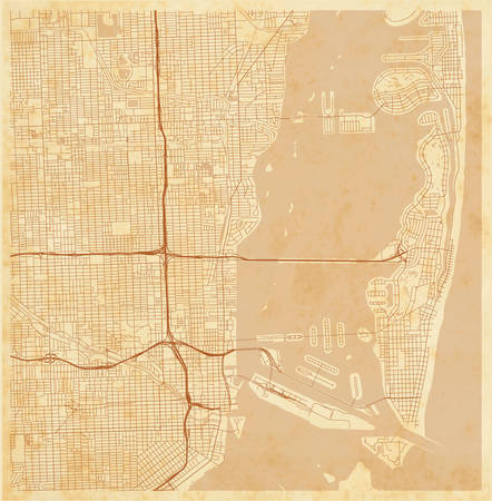 vector city map of Miami, Florida, US on a vintage grunge paper with well organized separated layers