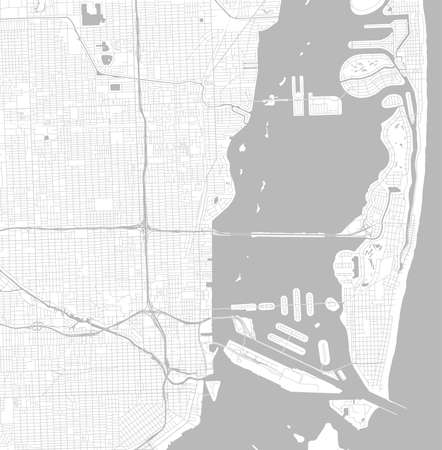 Black and white vector city map of Miami with well organized separated layers