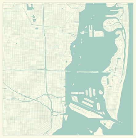 Miami, Florida, US City Map in Retro Style. Outline Map.
