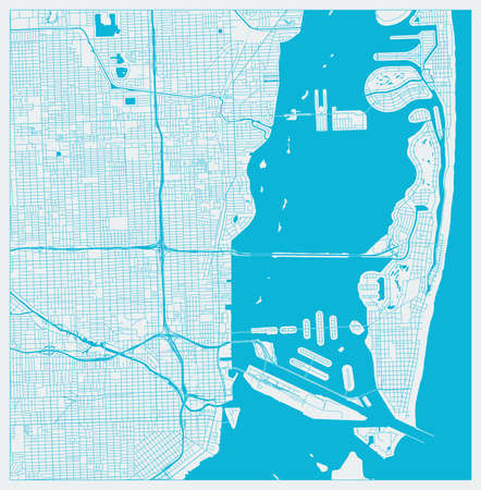 Miami, Florida, US City Map in Blue colors. Outline Map. Ilustracja