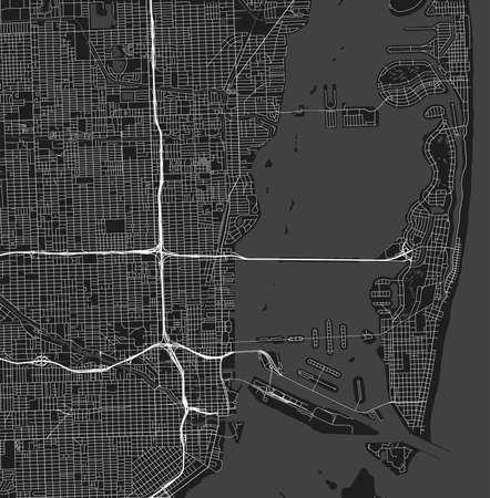 Urban vector city map of Miami, Florida, United States of America