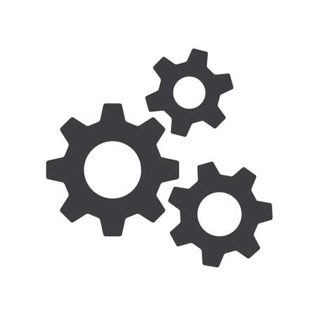 Settings gears or cogs flat icon for apps and websites Ilustracja