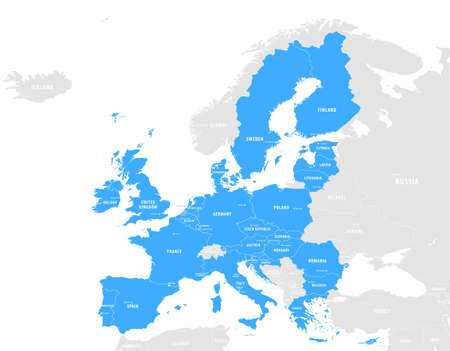 European Union countries. English labeling. Political map with borders and country names. 28 EU members, colored in light blue. Political and economic