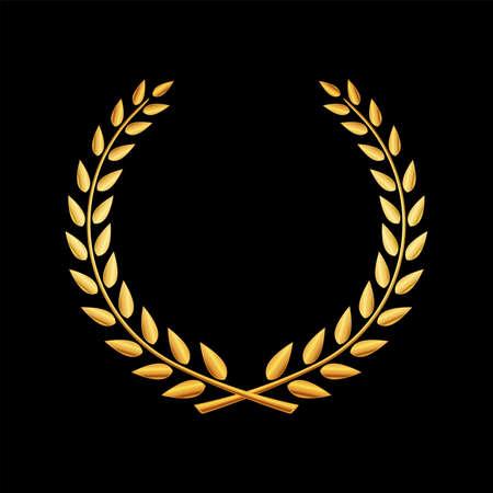 Wektor złoty wieniec laurowy
