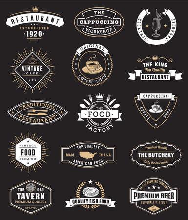 Elementi di design vintage di cibo, distintivi Vettoriali