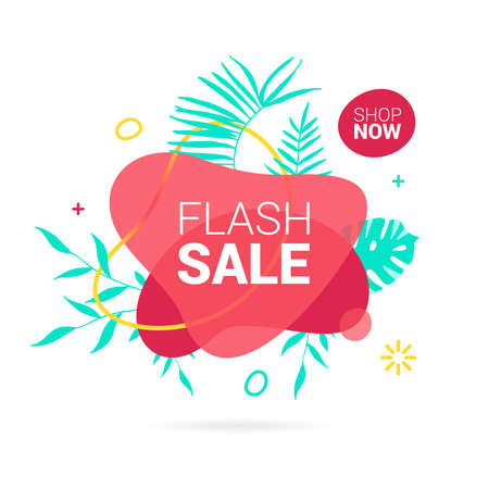 Summer sale banner template. Liquid abstract geometric bubble, Promo badge for seasonal offer, promotion, advertising Ilustracja