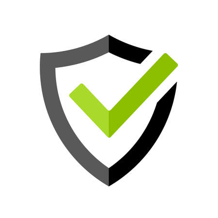 Strong protection tick shield icon