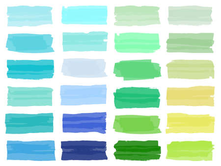Highlight brush underline hand drawn strokes set. Vector marker or color pen lines in yellow, green, blue highlighter strokes on transparent Background