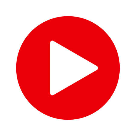 Button Play Video in red flat style, isolated on white background Ilustrace