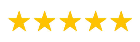 Five stars customer product rating review flat icon for apps and websites