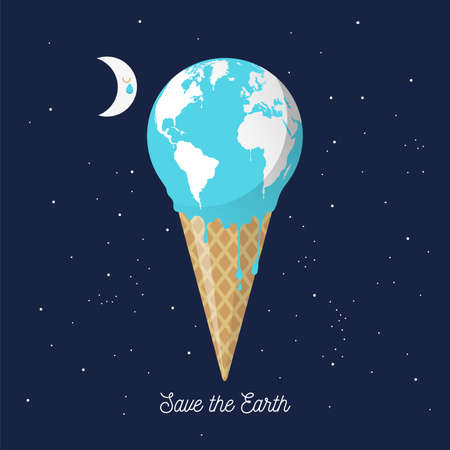 Melting earth icecream cone for global warming