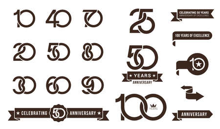 Set of anniversary pictogram icon and anniversary banner collection. Flat design. 10, 20, 30, 40, 50, 60, 70, 80, 90, years   label, monochrome stamp. Vector illustration isolated on white background