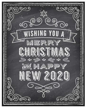 """Tarjeta de felicitación de Navidad de vector con tiza dibujada """"Feliz Navidad y feliz año nuevo 2020"""" y una pizarra de fondo muy fresco. El arte está completamente en capas para facilitar la edición. Ilustración de vector"""