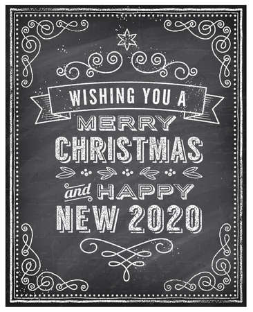 """Vector Christmas Greeting Card with Chalk drawn """"Merry Christmas and Happy new 2020 year"""" and a very cool background chalkboard. The art is fully layered for ease of editing. Vektoros illusztráció"""