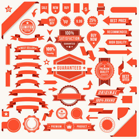 Vector red ribbon and labels set Ilustracja
