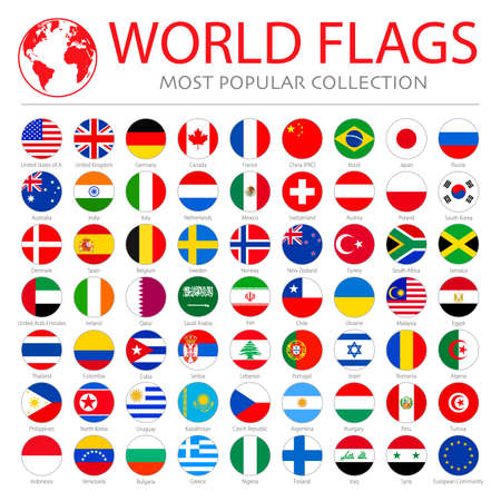 World flags vector collection. 63 high quality clean round icons. Correct color scheme