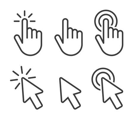Set of Hand Cursor icons click and Cursor icons click. Isolated on White background Ilustracja
