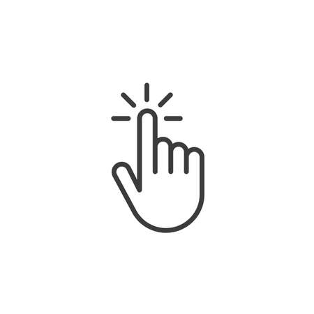 Click hand outline icon. linear style sign for mobile concept and web design. Touching finger simple line vector icon. Symbol,   illustration. Pixel perfect vector graphics