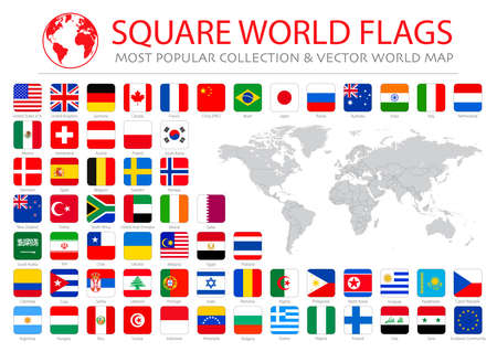 Vector high quality collection set of major world countries (major economies) official flags in squared format