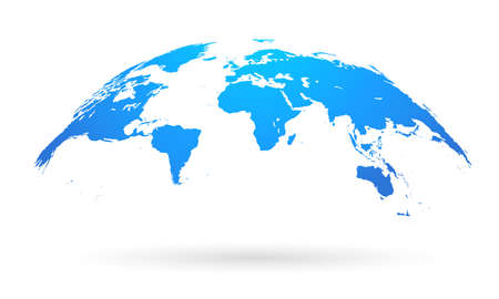 Spherical Curved Blue World Map