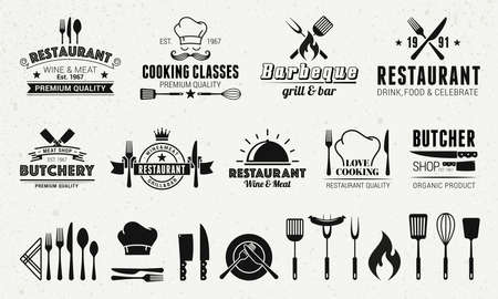 9 Vintage logo templates and 19 design elements for restaurant business. Butchery, Barbecue, Restaurant emblems templates. Vector illustration