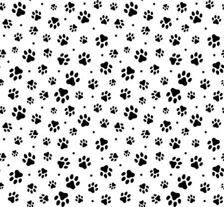 Verfolgen Sie schwarze Gekritzelpfotenabdrücke nahtlosen Musterhintergrund