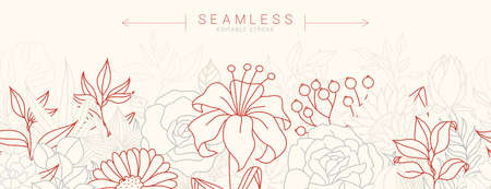 Tropical flowers border seamless pattern in sketch style on white background - hand drawn exotic blooms of hibiscus, protea, magnolia and plumeria with colorful line contour. Vector illustration Ilustrace