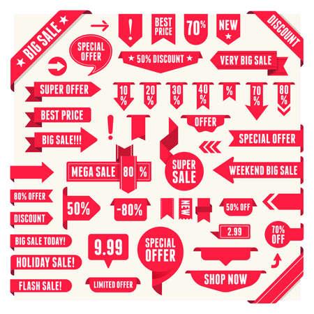 Verkauf Label-Sammlungssatz. Verkauf-Tags. Rabatt rote Bänder, Banner und Symbole. Shopping-Tags. Verkaufssymbole. Rot isoliert auf weißem Hintergrund, Vektorillustration