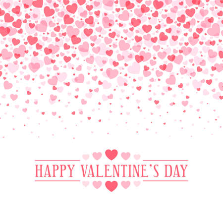Happy Valentines Day greeting card with horizontal frame of pibk hearts. Romantic hearts in horizontal composition with calligraphic phrase in pink colour